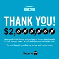 Government of Ontario Invests Two Million to Unison Benevolent Fund